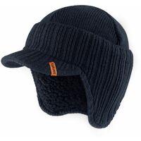 Scruffs Peaked Beanie Hat Navy Blue Warm Winter Insulated Workwear