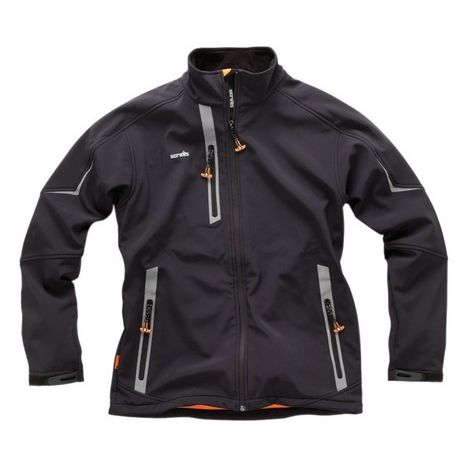 Scruffs Pro Softshell Black Jacket (Sizes S-XXL) Waterproof Technical Work Coat