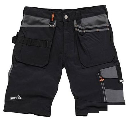 Scruffs Trade Work Shorts Black with Multiple Pockets (All Sizes) Hardwearing Combat Cargo