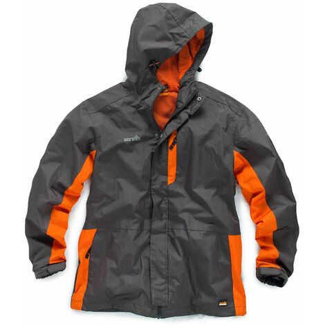 Scruffs Worker Jacket Charcoal Grey and Orange Waterproof Mens Coat (Sizes S-XXL)
