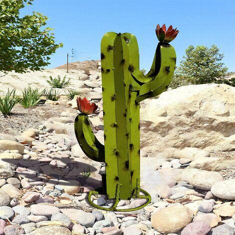 Sculpture Cactus Métal Artificiel, Art décoration Statue Déco à la Maison,Figurines de Jardin,Ornements de Pelouse, DIY Piquets de Jardin,Plantes d'agave en Métal pour Cour Extérieure 40CM (A)