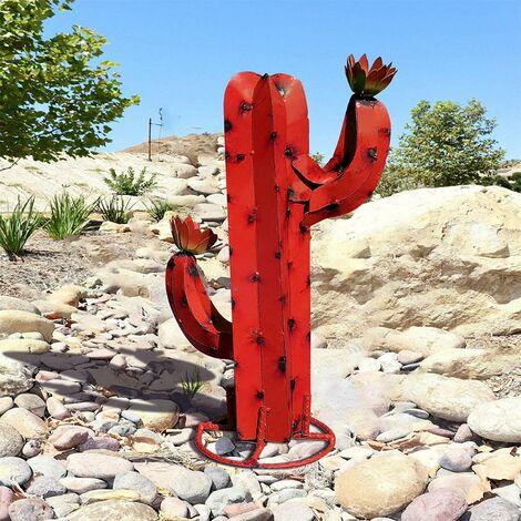 Sculpture Cactus Métal Artificiel, Art décoration Statue Déco à la Maison,Figurines de Jardin,Ornements de Pelouse, DIY Piquets de Jardin,Plantes d'agave en Métal pour Cour Extérieure 40CM (D)