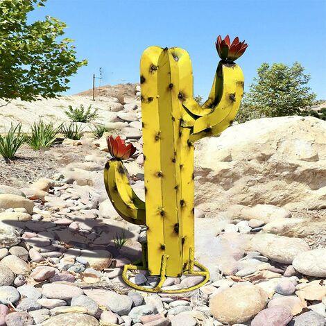 Sculpture Cactus Métal Artificiel, Art décoration Statue Déco à la Maison,Figurines de Jardin,Ornements de Pelouse, DIY Piquets de Jardin,Plantes d'agave en Métal pour Cour Extérieure 40CM (E)
