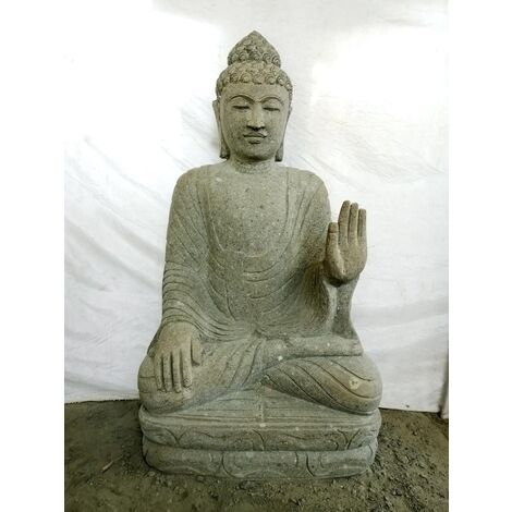 Sculpture de Bouddha en pierre volcanique position meditation 1m20