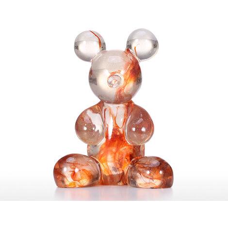 Sculpture de decoration douce de texture de verre transparent de bureau en resine transparente petit ours