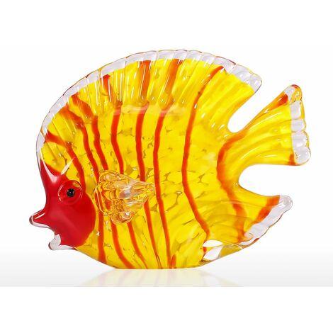 Sculpture en verre poisson jaune