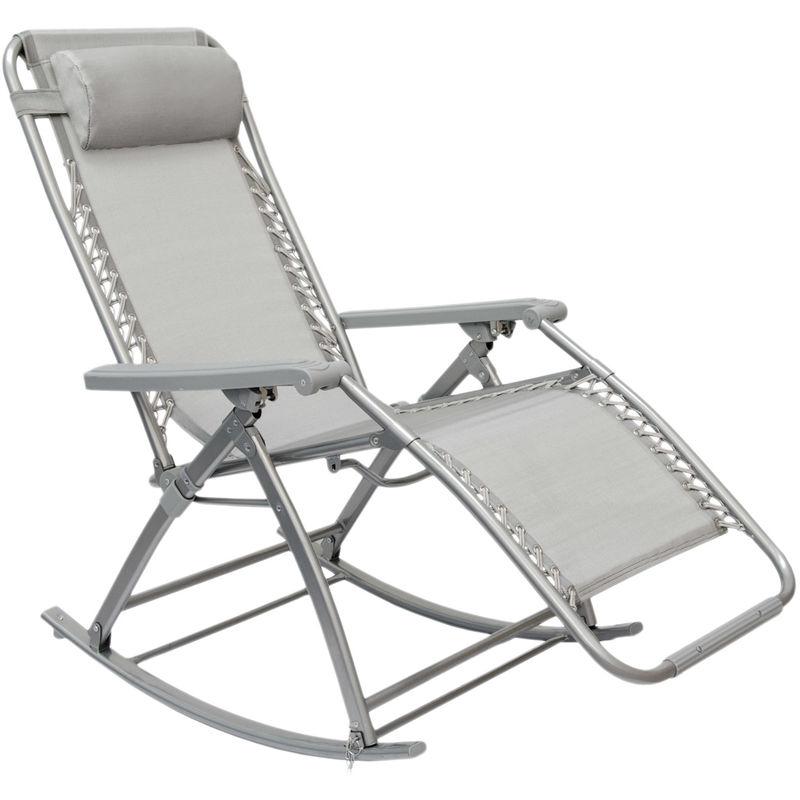 Sdraio a dondolo da giardino di AMANKA | Sedia a dondolo pieghevole e reclinabile con poggiapiedi | Struttura in acciaio ca 178x70cm | Peso max