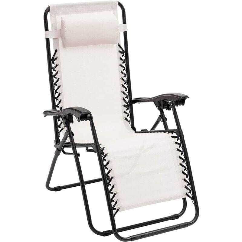 Chaise longue de jardin pliante Zero Gravity blanche 165 x 65 x 113 cm