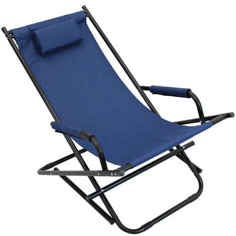 Sdraio Pieghevole Campeggio.Sdraio Pieghevole Dondolo Oxford Blu Per Campeggio Spiaggia Mare Piscina Giardino