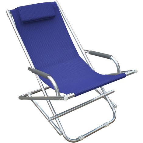 Sedia A Sdraio In Alluminio.Sdraio Playa 2pz Blu Poltrona Sedia Sdraia Mare Spiaggia Giardino Capaldo