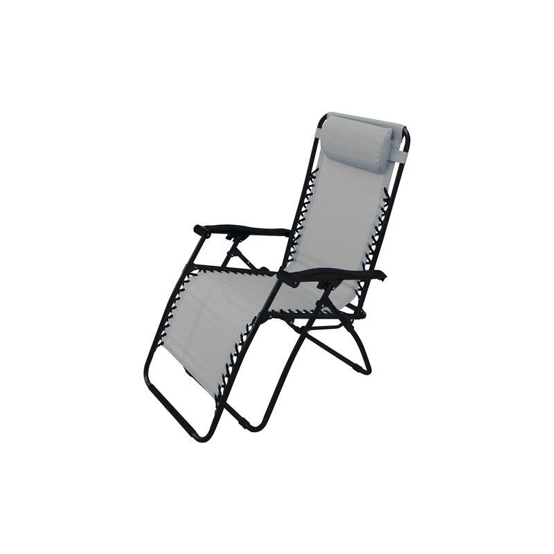 Milo - Sedia a sdraio 'Zero Gravity' reclinabile, in acciaio, poltrona ideale per esterno e giardino -Confezione da 1 pezzo / Grigio