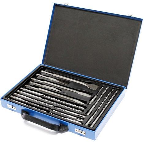 SDS taladro electrico cincel brocas juego de 17 piezas caja de metal