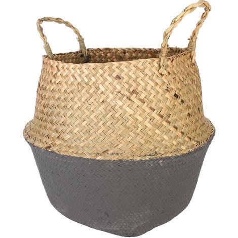 Seagrass Basket Tempered Black Gray Storage Holder Plant Pot Bag