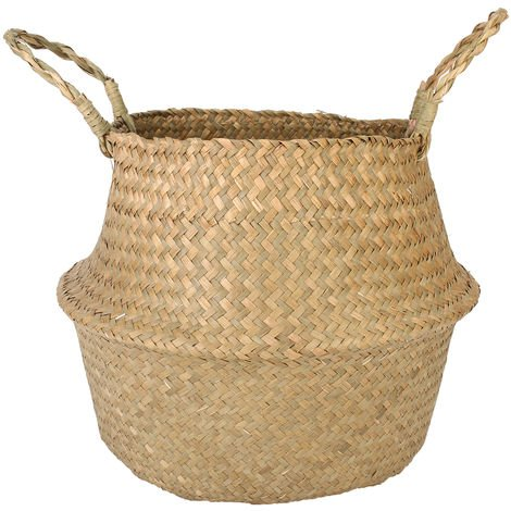 Seagrass Belly Storage Basket Plant Pot Holder Foldable Bag Nursery Washing Machine Decoration 22X20Cm Natural Color |?22X20Cm 1Pcs Plant Basket Hasaki