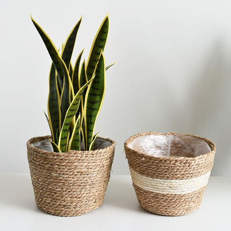 Seagrass Sea Grass Plant Basket For Internal and External Use, Flower Pots Lid, Plant Containers, Natural (2 Packages)