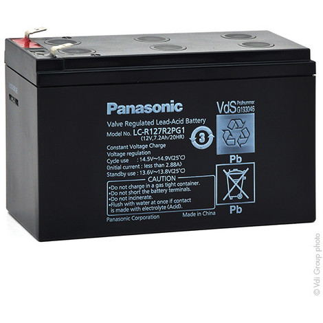 Sealed lead acid battery PANASONIC LC-R127R2PG1 12V 7.2Ah F6.35