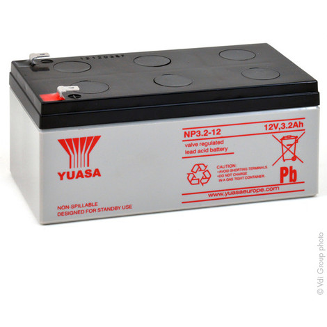 Sealed lead acid battery YUASA NP3.2-12 12V 3.2Ah F4.8