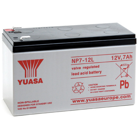 Sealed lead acid battery YUASA NP7-12L 12V 7Ah F6.35