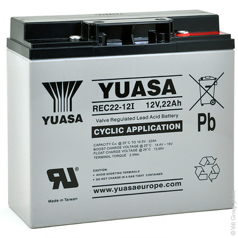 Sealed lead acid battery YUASA REC22-12I 12V 22Ah M5-F