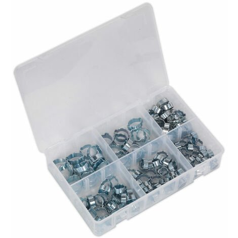Sealey AB044DE O-Clip Double Ear Assortment 140pc Zinc Plated