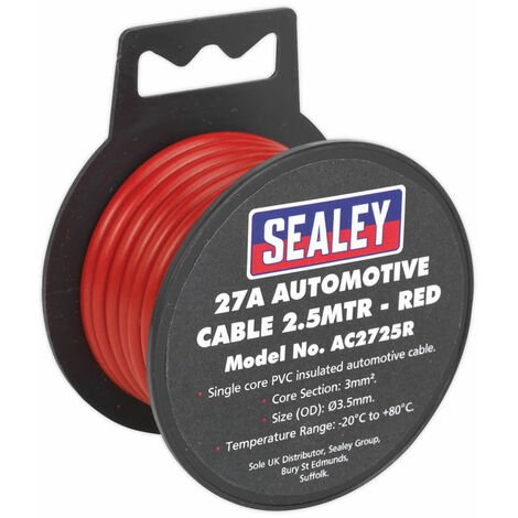 Sealey AC2725R Automotive Cable 27A 2.5mtr Red