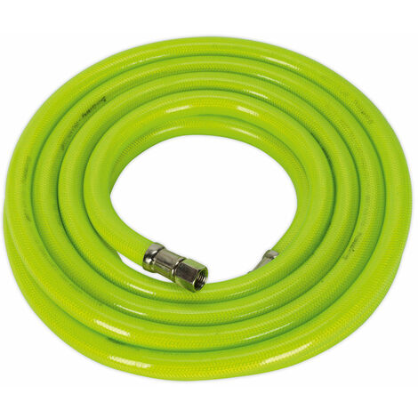 "Sealey AHFC538 Air Hose High Visibility 5mtr x Ø10mm with 1/4""BSP Unions"