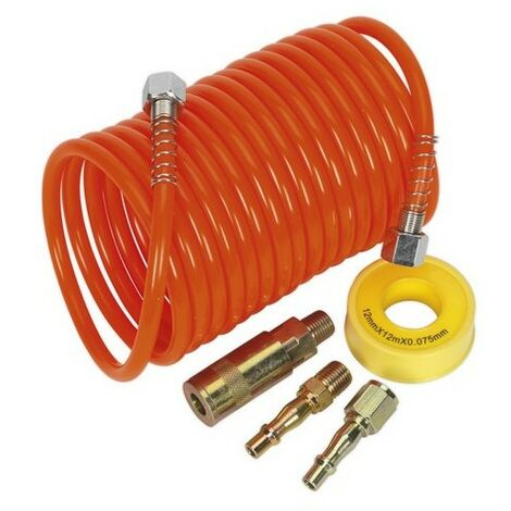 Sealey AHK03 Air Hose Kit 5 Metre x 5mm PU Coiled with Connectors