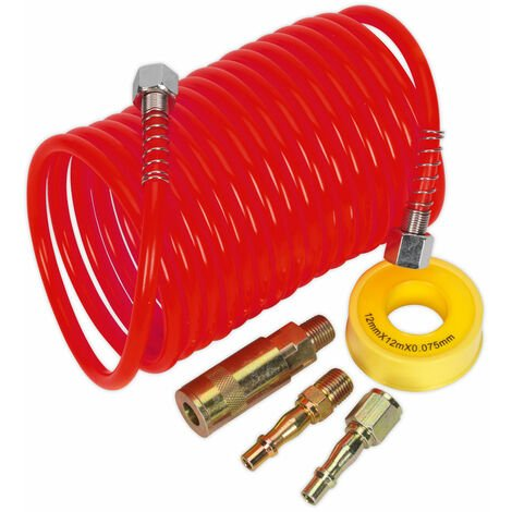 Sealey AHK03 Air Hose Kit 5m x Ø5mm PU Coiled with Connectors
