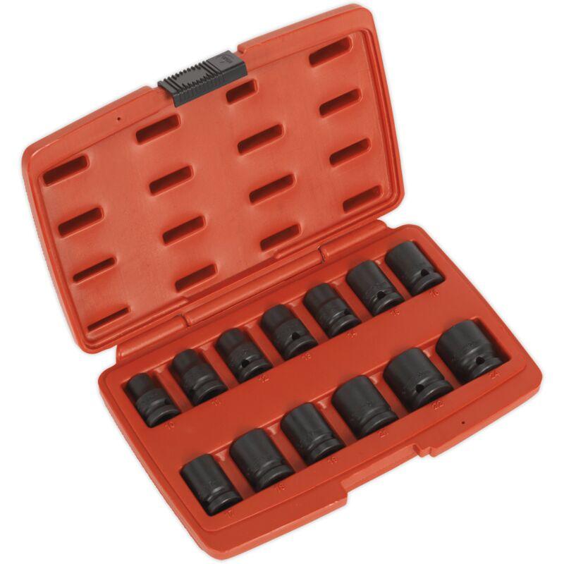 AK5614M Impact Socket Set 13pc 1/2'Sq Drive 12pt - Sealey