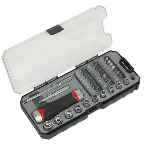 Sealey AK64905 Fine Tooth Ratchet Screwdriver & Accessory Set 38pc