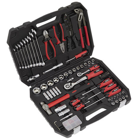 Sealey AK7400 Mechanic's Tool Kit 100 Piece Sockets Screwdriver Hammer Spanner Spark