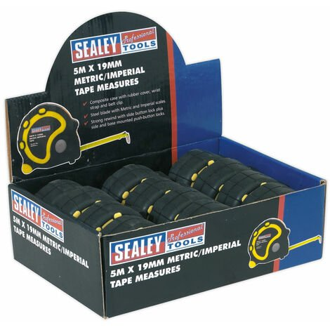 Sealey AK98912 Rubber Measuring Tape 5mtr(16ft) x 19mm Metric/imperial Pk 12