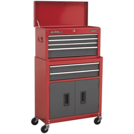 Sealey AP2200BB Topchest & Rollcab Combination 6 Drawer with Ball Bearing Slides - Red/Grey