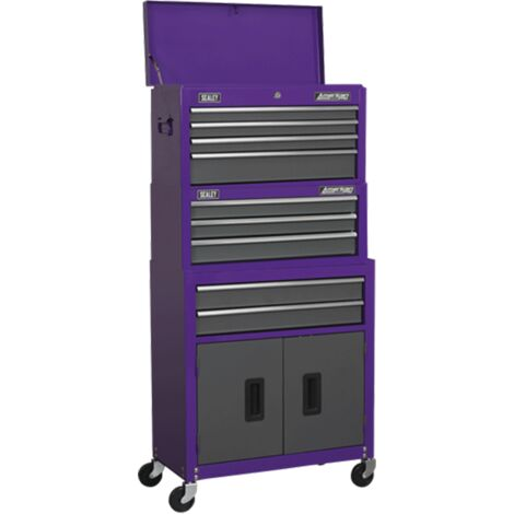 Sealey AP2200BBCPSTACK Topchest, Mid-Box & Rollcab 9 Drawer Stack - Purple