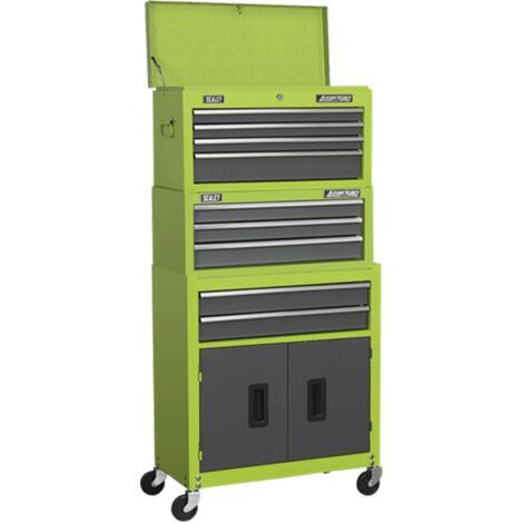 Sealey AP2200BBHVSTACK Topchest, Mid-Box & Rollcab 9 Drawer Stack - Green