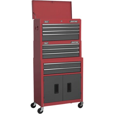 Sealey AP2200BBSTACK Topchest, Mid-Box & Rollcab 9 Drawer Stack - Red
