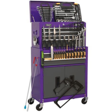 Sealey AP2200COMBOCP Topchest & Rollcab Combination 6 Drawer with Ball Bearing Slides - Purple/Grey & 128pc Tool Kit
