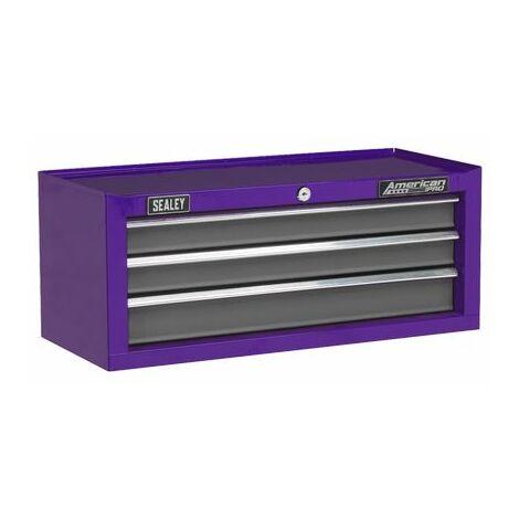 Sealey AP22309BBCP Mid-Box 3 Drawer with Ball Bearing Slides - Purple/Grey