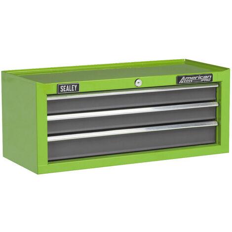 Sealey AP22309BBHV Mid-Box 3 Drawer with Ball-Bearing Slides - Green/Grey