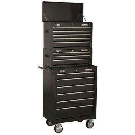 Sealey AP22BSTACK Topchest, Mid-Box & Rollcab 14 Drawer Stack - Black