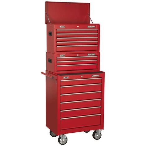 Sealey AP22STACK Topchest, Mid-Box & Rollcab 14 Drawer Stack - Red