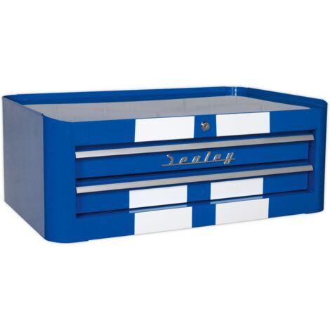 Sealey AP28102BWS Mid-Box 2 Drawer Retro Style - Blue with White Stripes