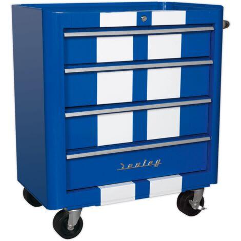 Sealey AP28204BWS Rollcab 4 Drawer Retro Style - Blue with White Stripes