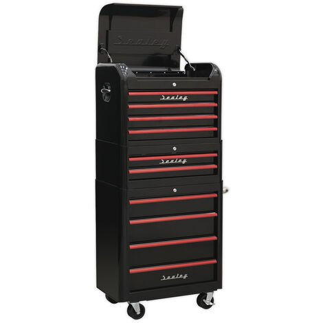 Sealey AP28COMBO2BR Retro Style Topchest, Mid-Box & Rollcab Combination 10 Drawer - Black with Red Anodised Drawer Pulls