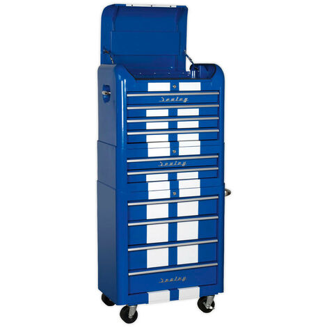 Sealey AP28COMBO2BWS Retro Style Topchest, Mid-Box & Rollcab Combination 10 Drawer Blue/White Stripes