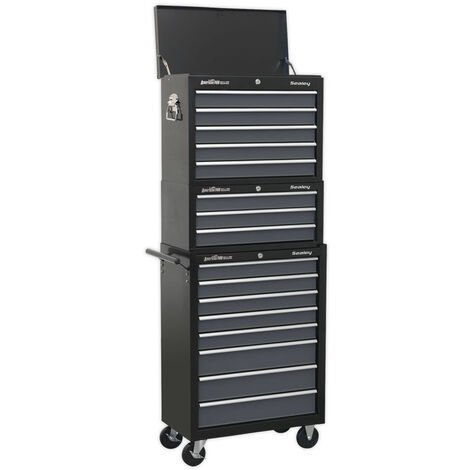 Sealey AP35STACK Tool Chest Combination 16 Drawer with Ball Bearing Slides - Black/Grey