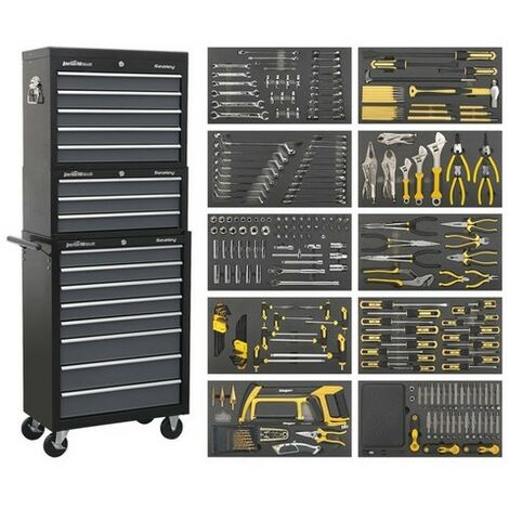 Sealey AP35TBCOMBO Tool Chest Combination 16 Drawer with Ball Bearing Slides - Black/Grey & 420pc Tool Kit