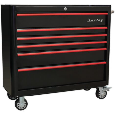Sealey AP41206BR Rollcab 6 Drawer Wide Retro Style - Black with Red Anodised Drawer Pulls