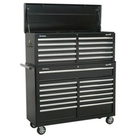 Sealey AP52COMBO2 Tool Chest Combination 23 Drawer with Ball Bearing Slides - Black