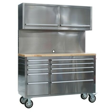 Sealey AP5520SS Mobile Stainless Steel Tool Cabinet 10 Drawer with Backboard & 2 Wall Cupboards